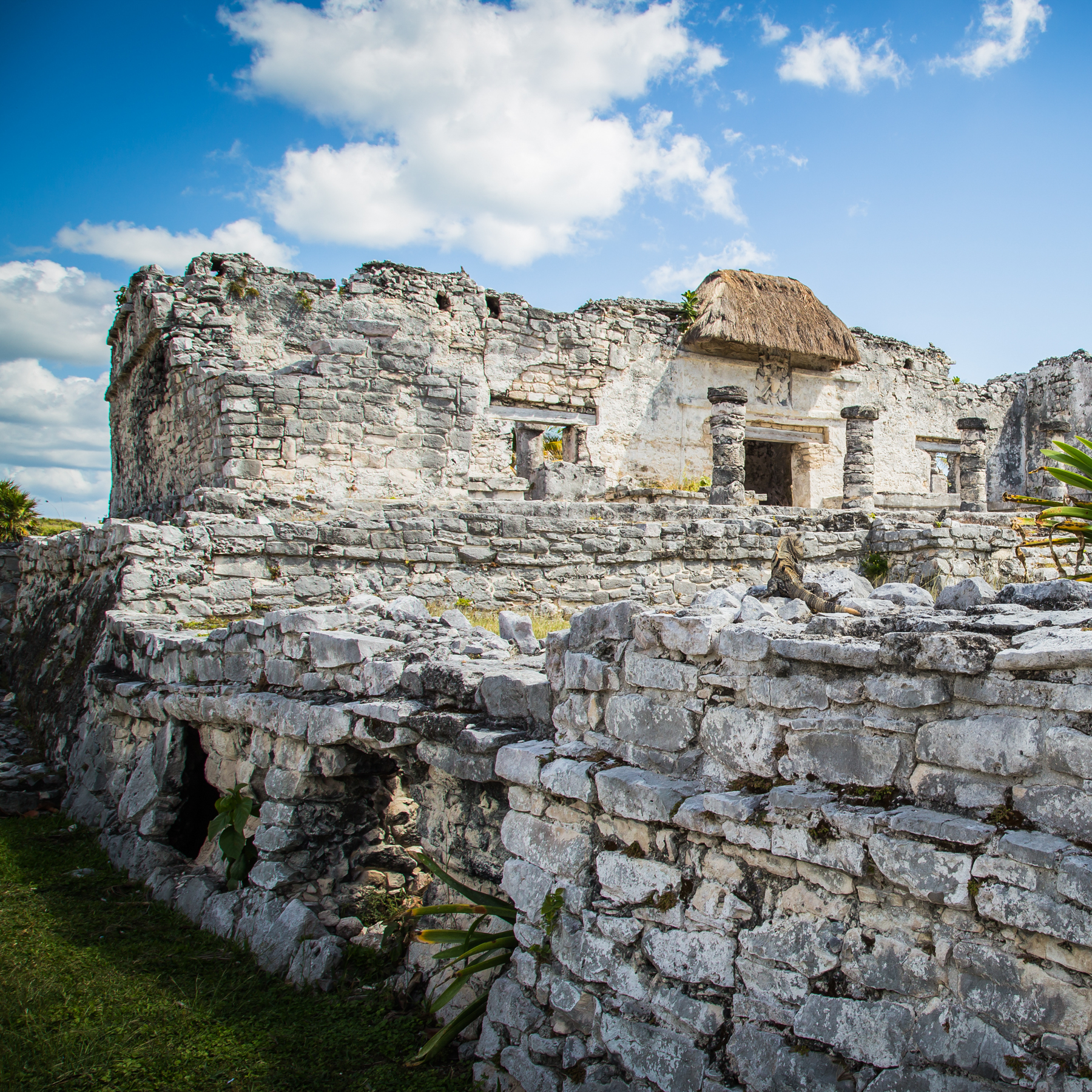 Ruins of Tulum, Mexico overlooking the Caribbean Sea. Mayan Temple, Tulum, Riviera Maya, Yucatan, Mexico